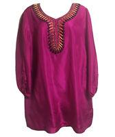 Art To  Wear Silk Bohemian Tunic Dress Long Top Vibrant Fuchsia Beaded UK 16