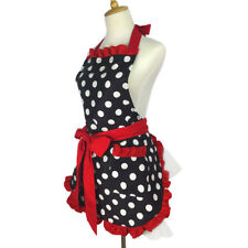 Bib Cute Bowknot Apron Cotton Polka Dot Ruffled Dress Mother Kitchen Home Apron