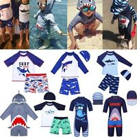 Kids Boys Children Summer Beach Swimwear Swimsuit Swimming Shirt+Shorts 2Pcs Set