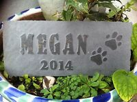 Cat Dog Pet memorial garden plaque, marker, Hand Carved slate, rabbit