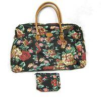 Vintage Gitano Floral Bag + Coin Purse Canvas Travel Tote Weekender Duffle 21x14