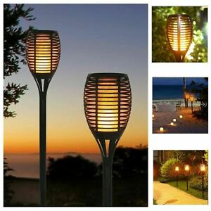 Set of 4 Solar Dancing Flame LED Torch Stake Flickering Outdoor Garden Lights
