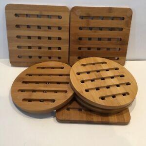 uniqueware bamboo trivet set 2 piece set