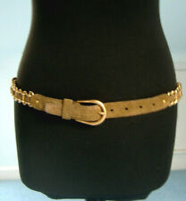 Miu Miu suede & golden chain belt, taupe / grey, never worn + original bag 85cm