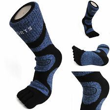 3 Pairs Men's Breathable Comfortable Compression Comfy 5 Finger Toe Socks NAVY