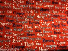 Jim Shore Words of Valor 100% cotton fabric sold by the yard Americana Theme QOV