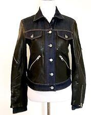 AllSaints Curtis Denim & Leather Biker Jacket NWT Retail $725 Price $395 Size 6
