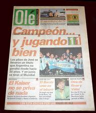 Soccer ARGENTINA (1) SUDAMERICANO SUB-20 CHAMPION  vs  URUGUAY (1) Ole Newspaper