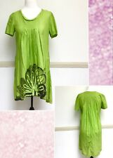 Womens Filo Dress Size 16 Green Black Casual Swing High Low 100% Cotton New