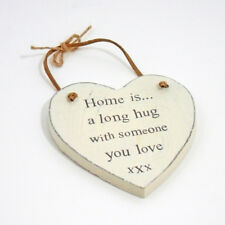 Home Is A Long Hug - Novelty Vintage Wall Plaque Sign with Leather Hanger