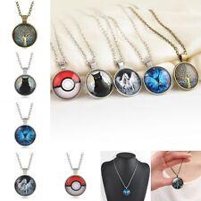 Metal 3D Punk Pokeball/Life Tree/Butterfly/Cat/Horse Glass Art Pendant Necklace