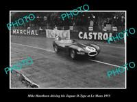 OLD LARGE HISTORIC PHOTO OF MIKE HAWTHORN DRIVING HIS JAGUAR D TYPE c1955