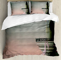 Gothic Duvet Cover Set with Pillow Shams Old Medieval Tower Rose Print