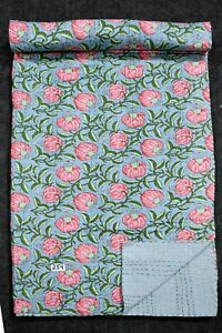 Indian Handmade Kantha Quilts Queen Size Blanket Bohemian Cotton Bedspread Throw