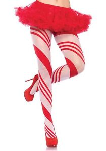 Leg Avenue 7944 Sheer Pantyhose Holiday Candy Cane Striped One Size Red & White