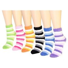 6 Pairs Womens Soft Cosy Fuzzy Winter Warm Striped Slipper Crew Socks Size 9-11
