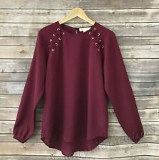 Women's Michael Kors Lace up tunic top blouse Burgundy Size XS New with Tags