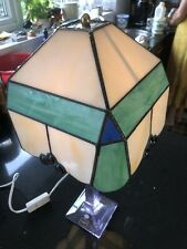 Tiffany Style Light Lamp Shade vintage handmade stained glass Green White Blue