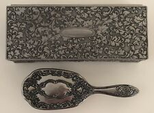 Vintage Silver Plated Jewelry Box Velvet Lined Floral Art Nouveau w/ Hair Brush