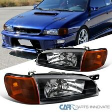 For 95-01 Subaru Impreza Black Headlights+Amber Corner Lights Turn Signal Lamps