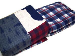 Cuddl Duds Heavyweight Patchwork Lodge Blue Bear Plaid Flannel Queen Sheet Set
