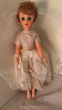 "Vintage 1950's 19"" Bride Doll Wedding Gown Veil High Heels Earrings A+ Free Ship"