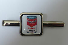 Unico! CAMPBELL'S SOUP Fermacravatta CROMO WARHOL TOMATO ART iconiche Designer