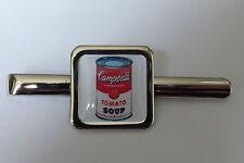 Unique! CAMPBELL'S SOUP TIE CLIP chrome WARHOL tomato ART iconic DESIGNER