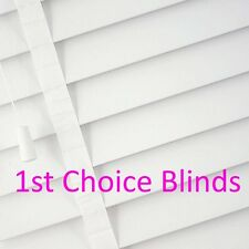 MADE TO MEASURE WOODEN VENETIAN BLIND WHITE WITH TAPES REAL WOOD 50MM SLATS