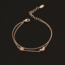 Charm Star And Moon 2 Layers Bracelets For Women 18K Rose Gold GP No Stone SL290