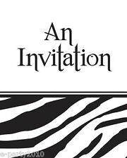 ZEBRA STRIPES ANIMAL PRINT INVITATIONS (8) ~ Birthday Party Supplies Stationery
