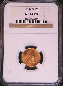 1944-D Lincoln Wheat Cent NGC MS67RD Bright Red, Superb Luster PQ #GE252