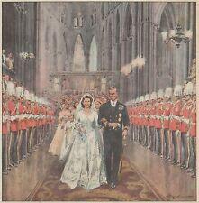 K0855 Elisabetta,futura regina, e il duca escono dopo le nozze  - Stampa antica