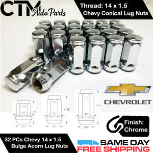 32PC CHEVROLET CHROME CONICAL SEAT 14X1.5 WHEEL LUG NUTS BULGE ACORN FOR CHEVY