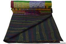 Ikat Silk Handmade Patchwork Kantha Quilt Bedsprd Blanket Gudari King Size Crazy
