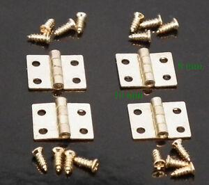 1/12 Miniature Brass Dolls House Hinges x 4 & 16 tiny screws Inc. 10mm x 8mm LGW