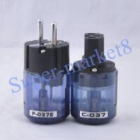 Audio AMP Schuko Power Plug & IEC Connector Rhodium Plate Transparent Blue