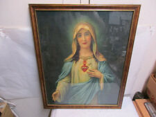 """vintage Mary with Sacred Heart Print w Wood Frame & Glass 21"""" - Estate Listing"""