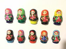 Lot of 5 Hand Painted Russian Nesting Doll MATRESHKA Souvenir Fridge Magnets