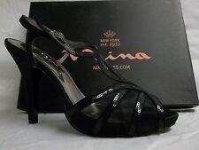 Nina Size 9 M Eilene Black Satin Open Toe Heels New Womens Shoes