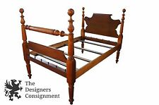 Antique Early American Federal Style Solid Walnut Full Size Rope Bed 4 Poster