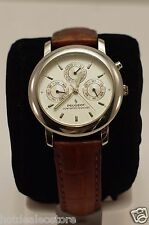 Men's Peugeot PP Silver Tone Watch on a Brown Leather Band