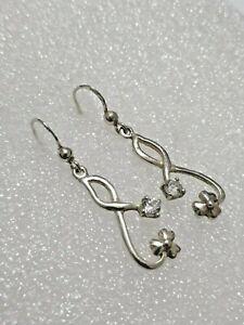Gorgeous Sparkling White Topaz Art Nouveau Drop Earrings 925 Solid Silver #4685