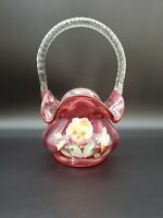 VINTAGE SIGNED FENTON CRANBERRY RED GLASS BASKET HAND PAINTED FLOWERS BY CUTSHAW