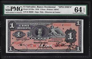 El Salvador One Peso 1910 PS172bs Specimen Uncirculated