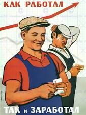 PROPAGANDA POLITICAL SATIRE EARN WORK MONEY COMMUNISM USSR SOVIET POSTER BB2652B