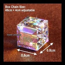 Sparkling Love Cube Crystal Silver Necklace Xmas Anniversary Gifts For Her Women
