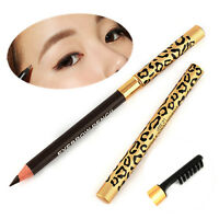 Waterproof Make Up Leopard Longlasting Brown Eyeliner Eyebrow Pencil With Brush