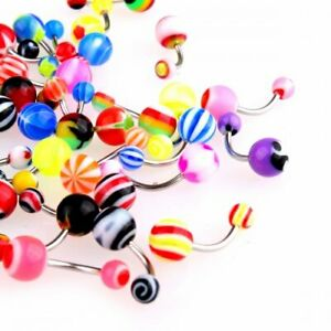 50x Mix Colors Navel Belly Botton Ring Bar Acrylic Barbell Body Jewelry