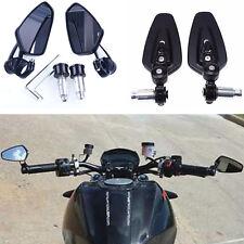 "2x Black Motorcycle Bike Billet Aluminum 7/8"" 22mm Bar End Side Rearview Mirrors"